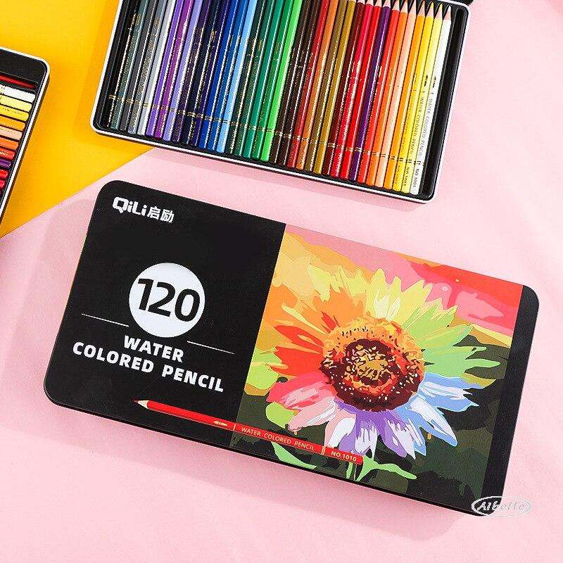 Premium caixa de ferro 36/72/120 lápis aquarela lápis de madeira colorido conjunto lapis de cor pintura presentes para crianças escola arte supplie Lápis de cor    -