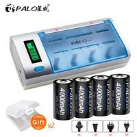 Batería recargable de tamaño C de 1,2 V y 4000mAh, NI-MH y pantalla LCD, cargador rápido para AA, AAA, C, D, 9V, 4 Uds.