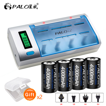 PALO 4pcs C size rechargeable battery C type 1.2V 4000mAh NI-MH + intelligent fast charging LCD charger for AA AAA C D 9V 4pcs palo 4000mah 1 2v c size ni mh nimh rechargeable battery with low self discharge for household flashlight water heater toy