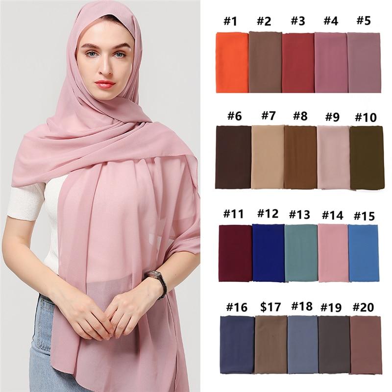 2020 Women Chiffon Scarf Solid Plain Bubble Muslim Hijab Foulard Scarfs Headband Shawls Wraps Soft Silk Feeling Neck Scarves