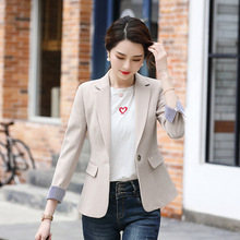 Womens professional blazer 2019 new solid color slim nine-point sleeve ladies jacket Business office suit autumn female