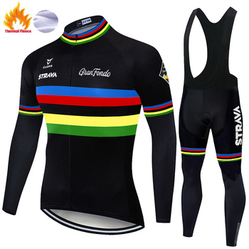 STRAVA-ropa térmica de lana para ciclismo para hombre, conjunto de pantalones de...