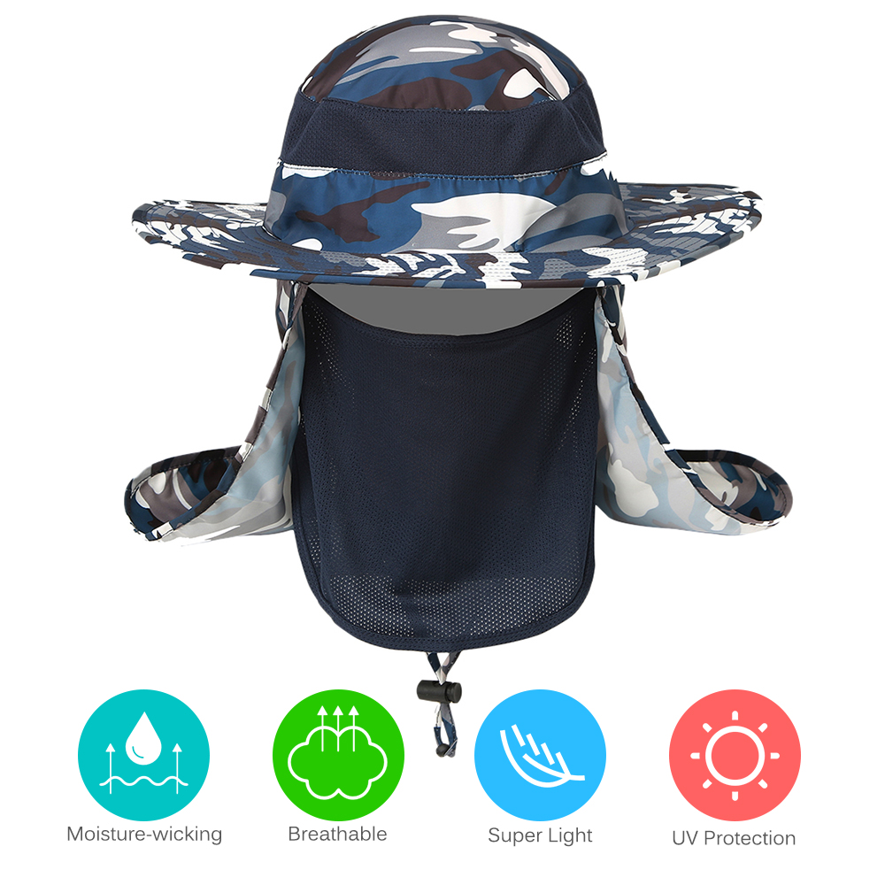 UV Protection Fishing Caps Men Women Outdoor Hiking Sun Hat Breathable Wide Brim Hat Boonie Hat with Flap Face Cover