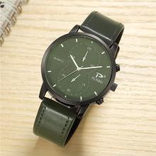 Green Business Armbanduhr Männer Uhren Berühmte Marke PU Leder Armbanduhr Neue Männlichen Quarz Uhr für Männer Uhr Stunden Hodinky männer