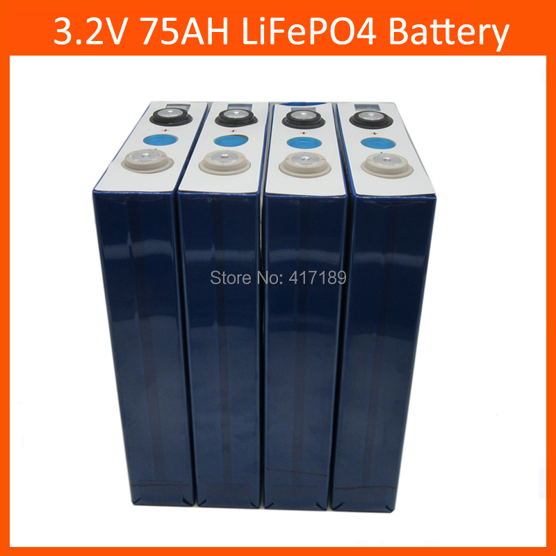 4pcs/lot 3.2V 75Ah lifepo4 cell with 2000 times life cycle <font><b>12V</b></font> <font><b>70AH</b></font> for electric vehicles/storage system/UPS image