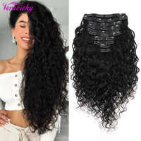 Veravicky-extensiones de cabello humano Remy con Clip de onda Natural, 200G, máquina de cabello europeo, conjunto de cabeza completa con Clip ins