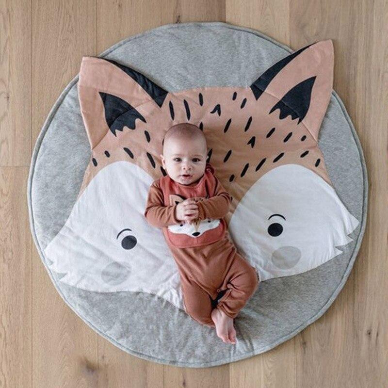 90cm tapete de algodão macio do jogo do bebê redondo esteiras rastejando rastejando esteira crianças jogar tapetes do berçário crianças quarto decoração