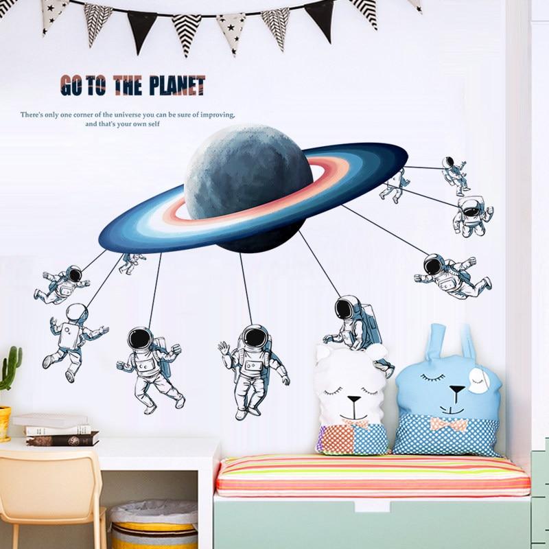 Pegatinas de pared del astronauta del espacio creativo decoración del hogar decoración de la sala de estar decoración del dormitorio del niño pegatinas de pared 3d arte Mural del Pvc Diy cartel