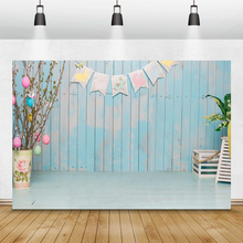 Laeacco Easter Photophone Blue Wooden Board Flag Plant Easter Eggs Photography Backgrounds Spring Newborn Backdrops Photo Studio