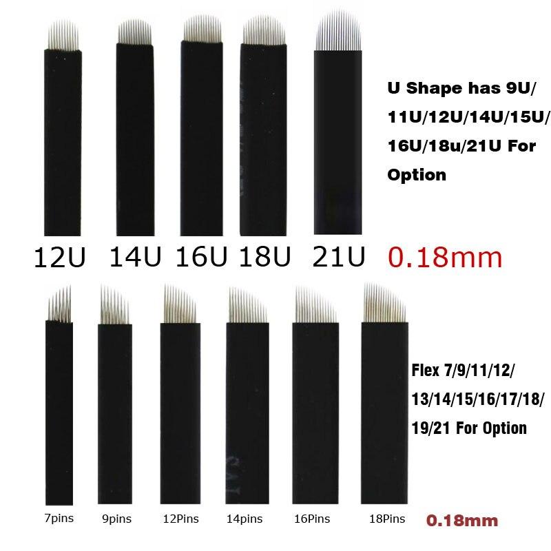 50pcs 0.18mm Black Flex7 9 11 12 14 16 18 21U Pins Permanent Makeup Tebori Eyebrow Tattoo Needles Blade Microblading For Tattoo