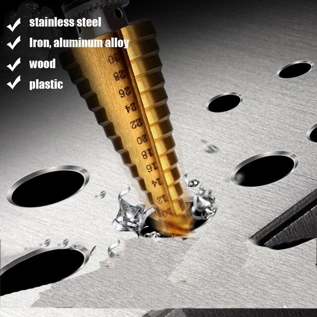4-12mm 4-20mm 4-32mm HSS 4241 acier grande étape cône titane enduit métal foret coupe outil ensemble trou Cutter