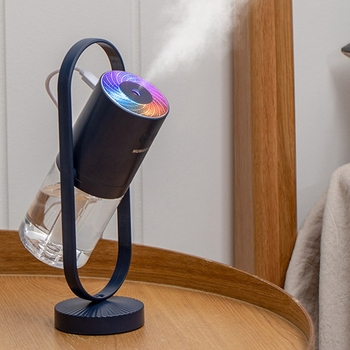 Ultrasonic ProjectionAir Humidifier 360 Free Degrees Rotation USB Aroma Diffuser Mini Car Humidifier with LED Lamp Dark Blue|Humidifiers| |  -