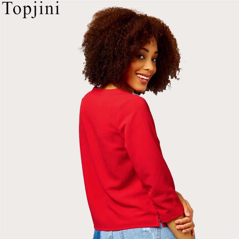 Summer Big Size Streetwear Chiffon Three Quarter Women Short Shirts Solid V-Neck Regular Loose Casual S-6XL Female Blouses