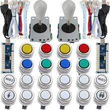 2 Player Arcade Game DIY Kit LED Chrome Paint Buttons Micro switch 8 Way Joystick USB Encoder Cable for PC MAME Raspberry Pi(China)