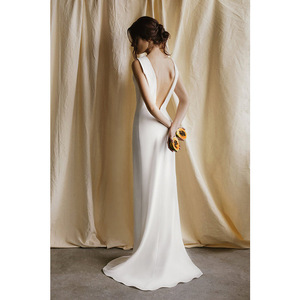 Image 3 - tailor shop custom made pure silk heavy silk 40mm wedding dress silk satin simple forest travel brides backless small trailing