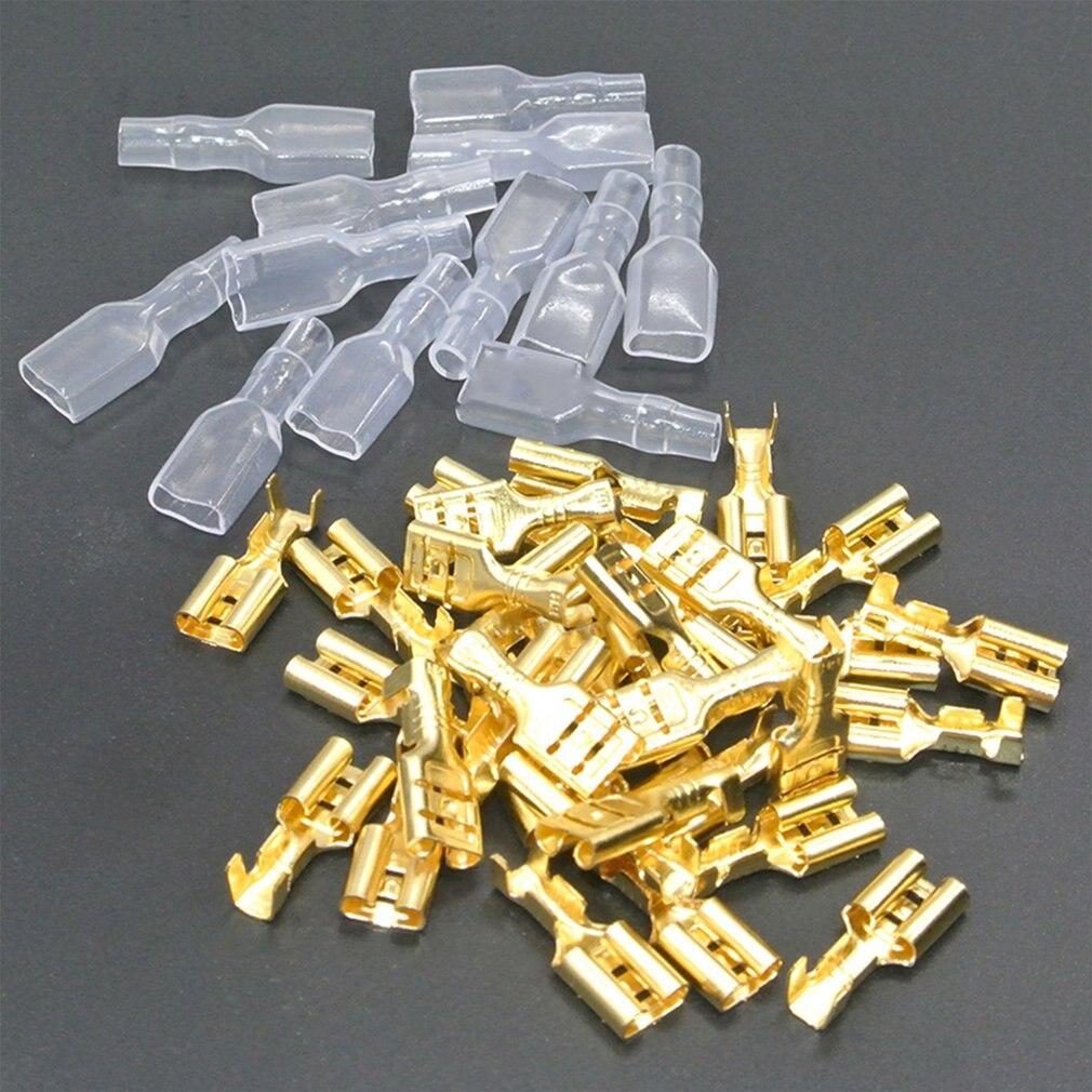 200 TERMINALES FASTON Gold Brass Car Speaker Female Spade Terminal Wire Connec