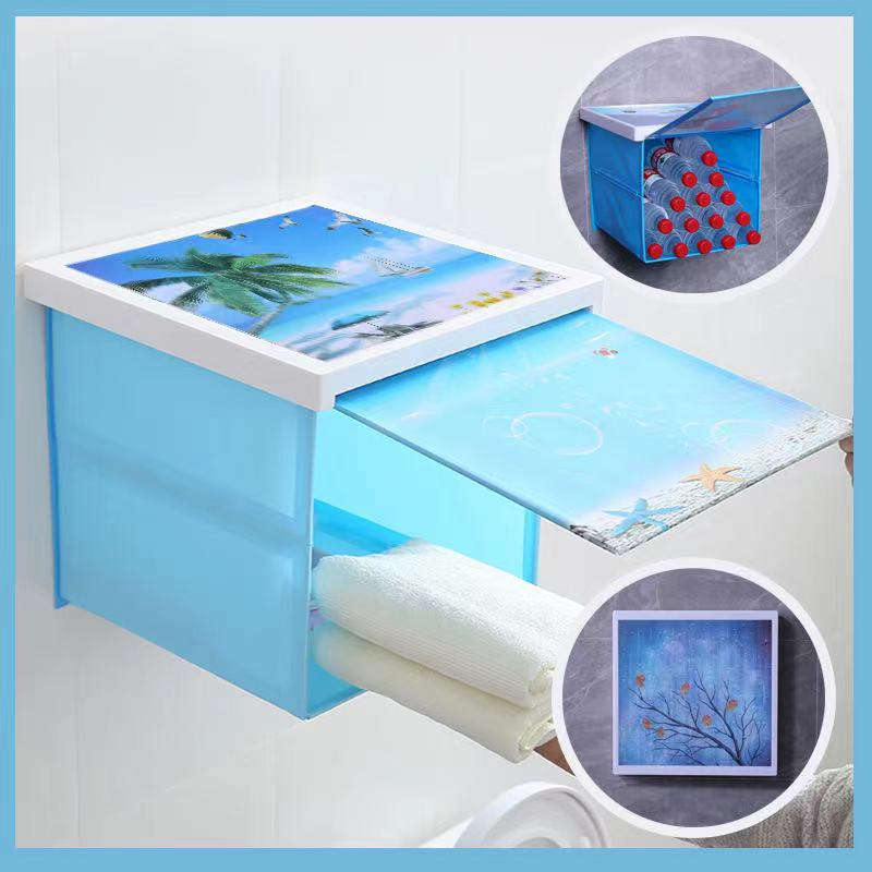 Bathroom foldable mural storage box storage cabinet bathroom hipster wall-mounted bath Folding Cabinet