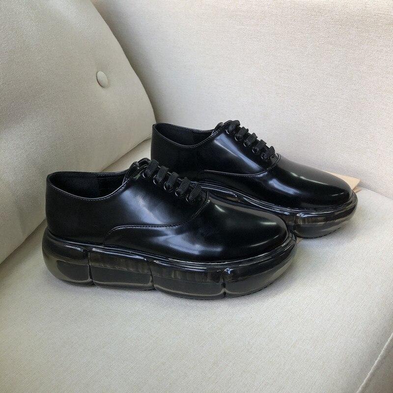 até plataforma transparente casual preto formadores sapatos de couro do vintage