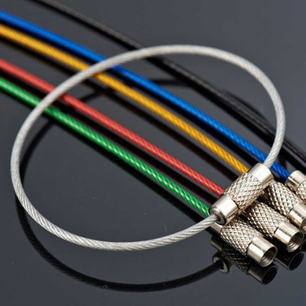 10Pcs Colorful EDC Keychain Stainless Steel Carabiner Key Holder Outdoor Tools Wire Keyrings Cable Rope Screw Locking Key Chain