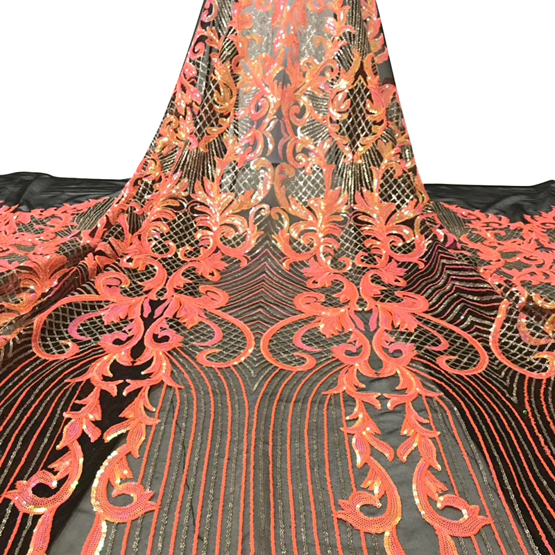 African Lace Fabric 2020 Beautiful Sequins Pattern Best Quality Tulle French Lace Fabric For Nigeria Elegant Women Evening Dress