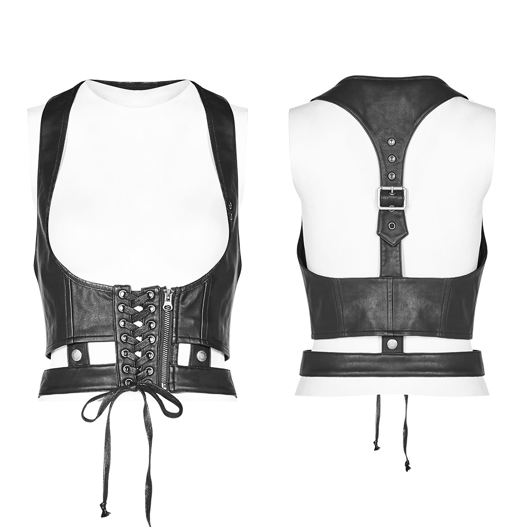 PUNK RAVE Women's Punk Accessories Wash PU Metal Zipper Slim Fit Personality Handsome Stage Performace Corset