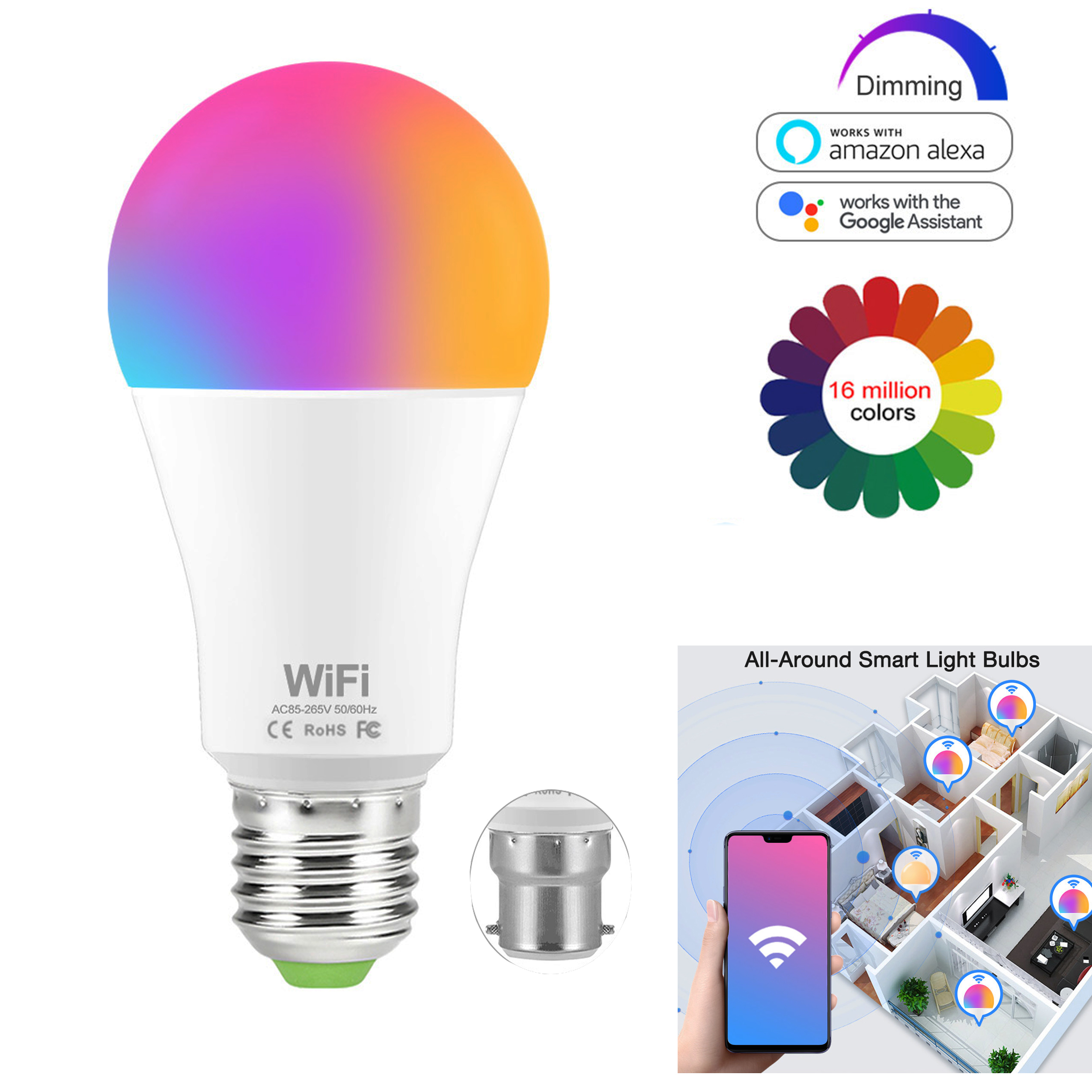 WIFI Smart Light Bulb Lamp 15W RGB + White/Warm Color LED Lamp Changeable B22 Voice Remote Phone Compatible With Alexa/ Google