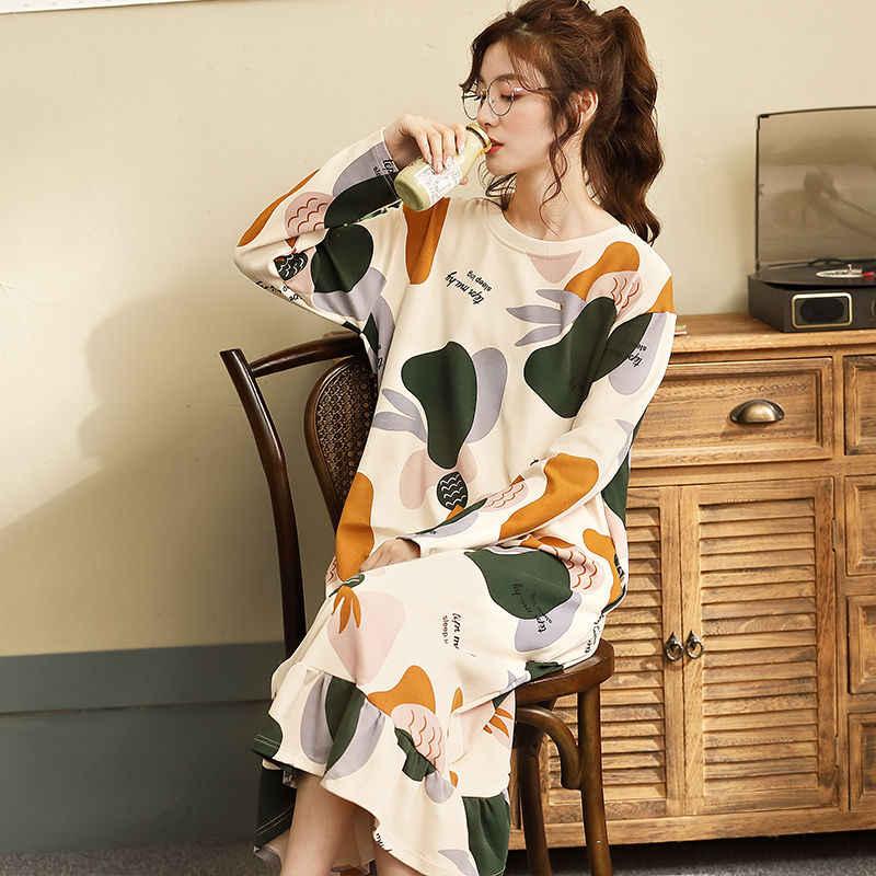 כותנות לילה נשים קיץ 3XL ארוך שרוול הלבשת מודפס ראפלס Kawaii קוריאני סגנון נשים פיג מקרית נמתח אלגנטי חדש