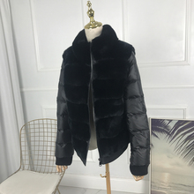 women rex rabbit fur coat short with standing collar with down sleeves Thick War