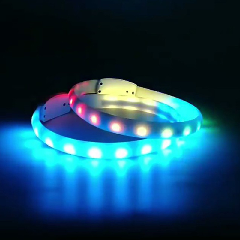 LED Dog Neck Ring Colorful Fiber Pet Luminous Collar Optic Pet Traction Rope Anti-Lost Dog Supplies