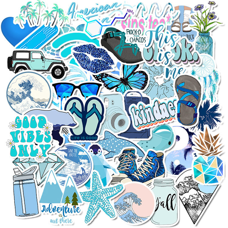 50 PCS Pack Blue Vsco Girl Things Stickers DIY For On Laptop Phone Skateboard Travel Suitcase Sticker