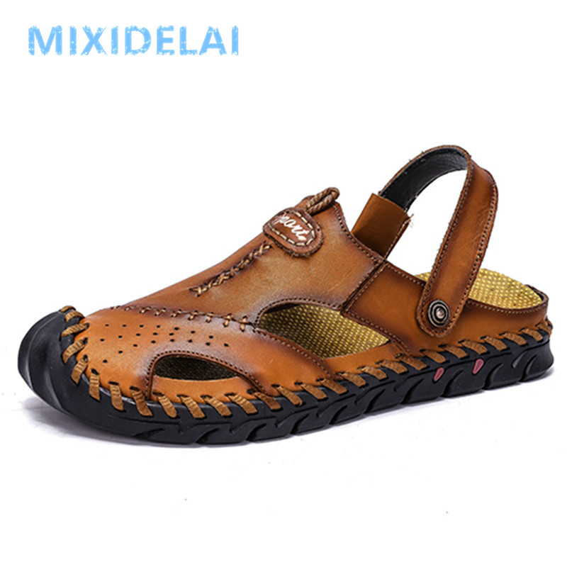 2020 New Leather Men's Sandals Classic Roman Sandals Casual Comfortable Shoes Summer Outdoor Beach Man Sandals Sneakers 38-48
