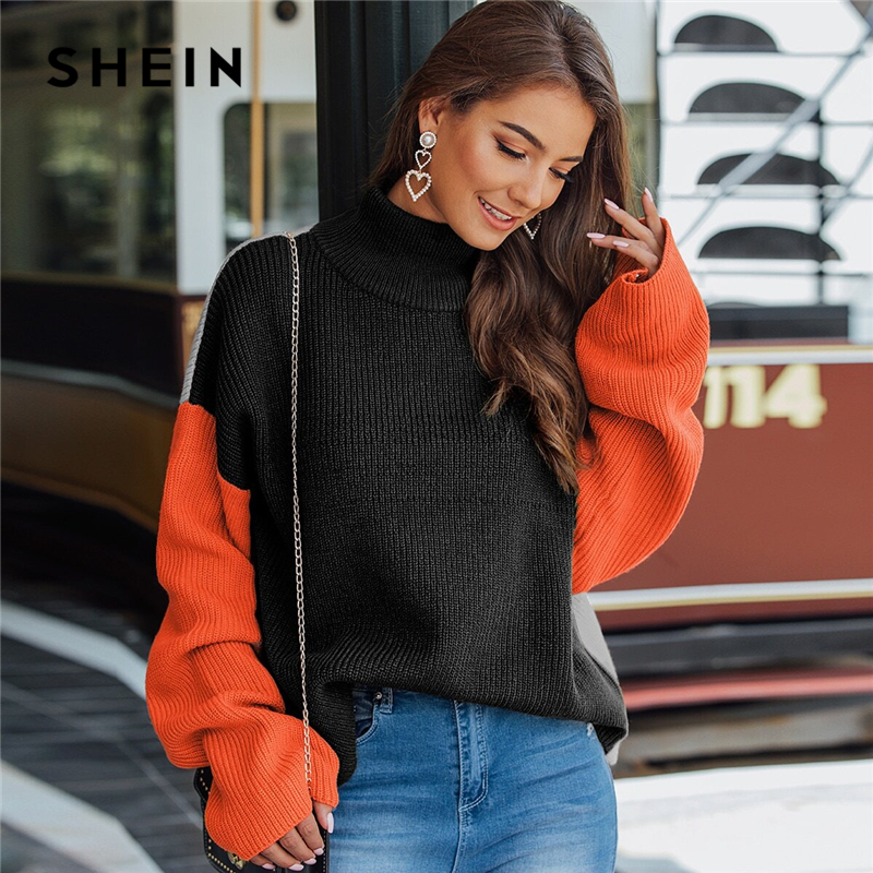 SHEIN Multicolor High Neck Ribbed Knit Casual Sweater Women Tops Autumn Streetwear Long Sleeve Colorblock Ladies Winter Sweaters