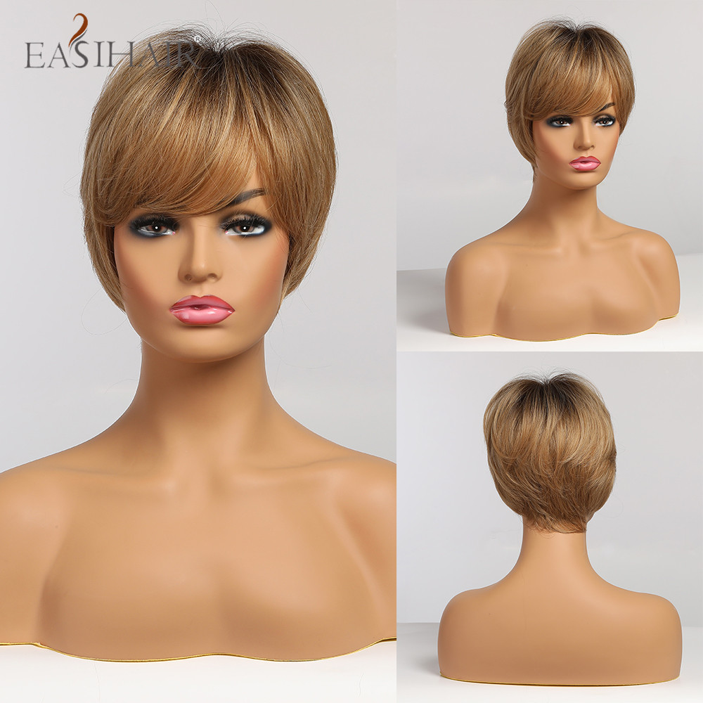 EASIHAIR Ombre Light Brown Dark Brown Roots Straight Short Wigs Synthetic with Full Bangs Heat Resistant Cosplay Wigs for Women