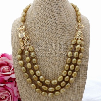 """N081803 3Strands 21""""-24"""" Champagne Rice Pearl Necklace CZ Pendant"""