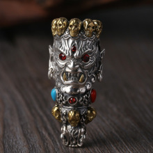 925 Sterling Silver Skull Pendant Buddha God of Wealth Mosaic Color Stone Necklace Pendant Jewelry