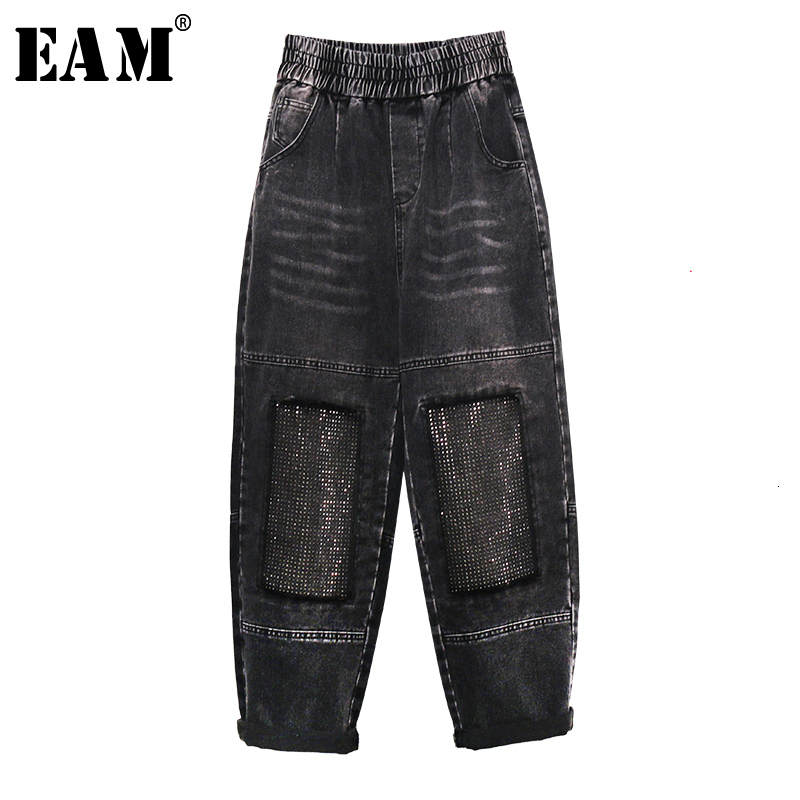 [EAM] Wide Leg Black Gray Rhinestones Blingbling Jeans New High Waist Loose Women Trousers Fashion Tide Spring Autumn 2019 1K681