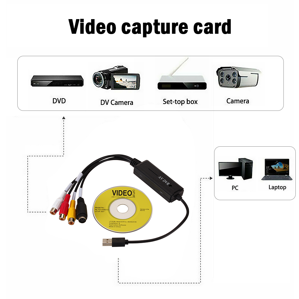 Portable Easy to cap USB2.0 Audio Video Capture Card Adapter VHS To DVD Video Capture Converter For Win7/8/XP/Vista 4