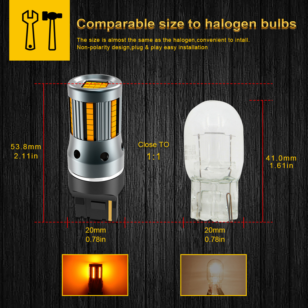 Image 3 - 2 個 T20 W21W WY21W 7440 7440NA Led ターン信号光電球 Can バスエラー無料いいえハイパーフラッシュアンバーイエロー p21W ba15s T25 3156信号ランプ   -