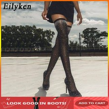 Eilyken 2019 Fashion Runway Crystal Stretch Stof Sok Laarzen Puntige Teen Over-de-Knie Hak Dij Hoge Spitse teen Vrouw Boot(China)