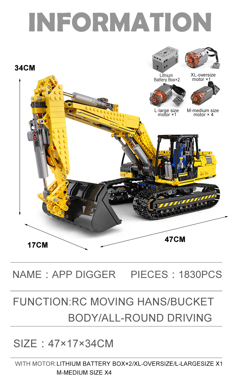 MOULD KING 13112 Compatible 8043 Technic Motorized Excavator truck Building Block (1830PCS) 10