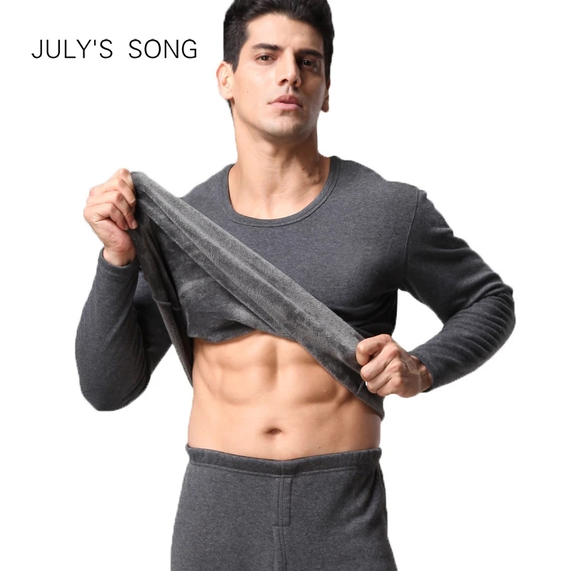 JULY'S SONG Men Thermal Underwear Set 2PS Winter Velvet Thick Warm Tops+Trousers Layered Clothing Male Long Hot-Dry Thermal Set