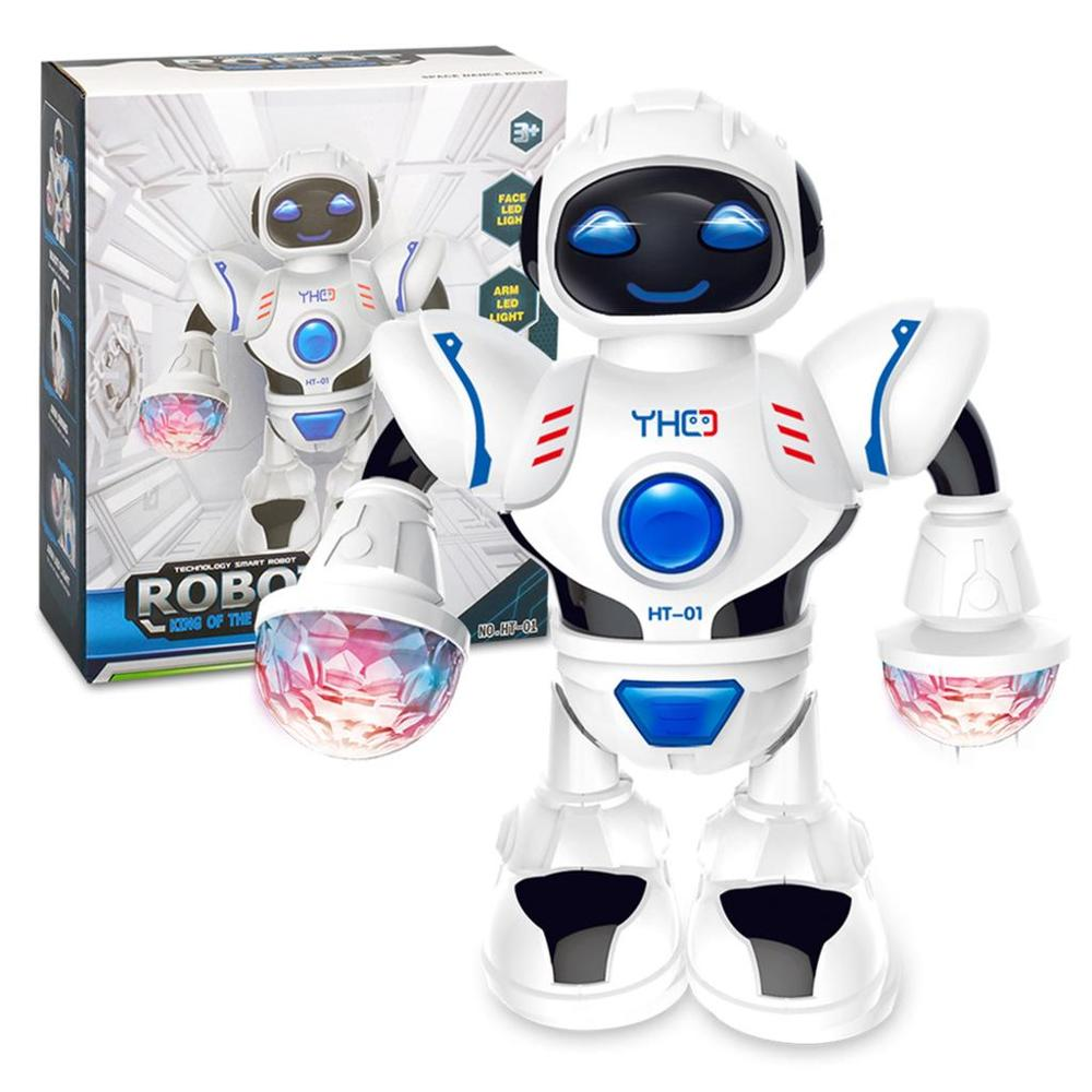 Умный мини-робот, Веселый робот, танцующий робот, игрушка со светодиодной подсветкой, музыкальный робот для танцев