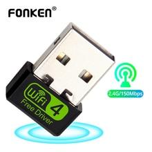FONKEN Adapter USB Wifi na PC 802.11n 2.4G 150M bezprzewodowy Adapter sieci Lan Ethernet komputer Wi Fi akceptor akcesoria PC