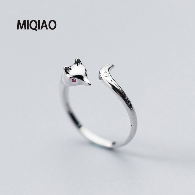 MIQIAO 925 Sterling Silver Adjustable Female Fox Ring For Women Accessories Charm Unusual Cool Stuff Fashion Temperament Gift