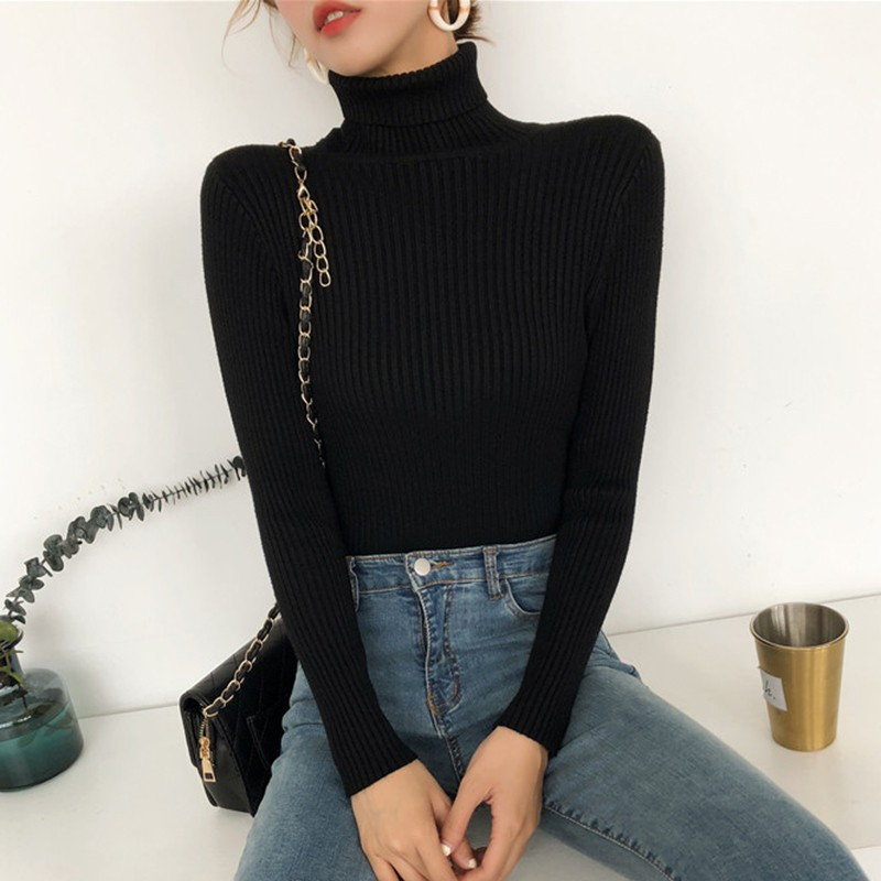 Autumn Fall Women Sweater Slim Soft Long Sleeve High Neck Knit Pullover Sexy Slim Stretch Turtleneck Sweaters 5Colors