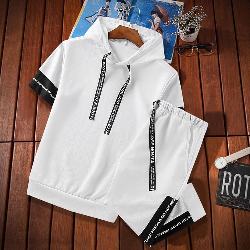 2018 New Style Hooded MEN'S Hoodie Short Sleeve Set Capri Pants Casual Shorts Korean-style Men'S Wear 862 Summer