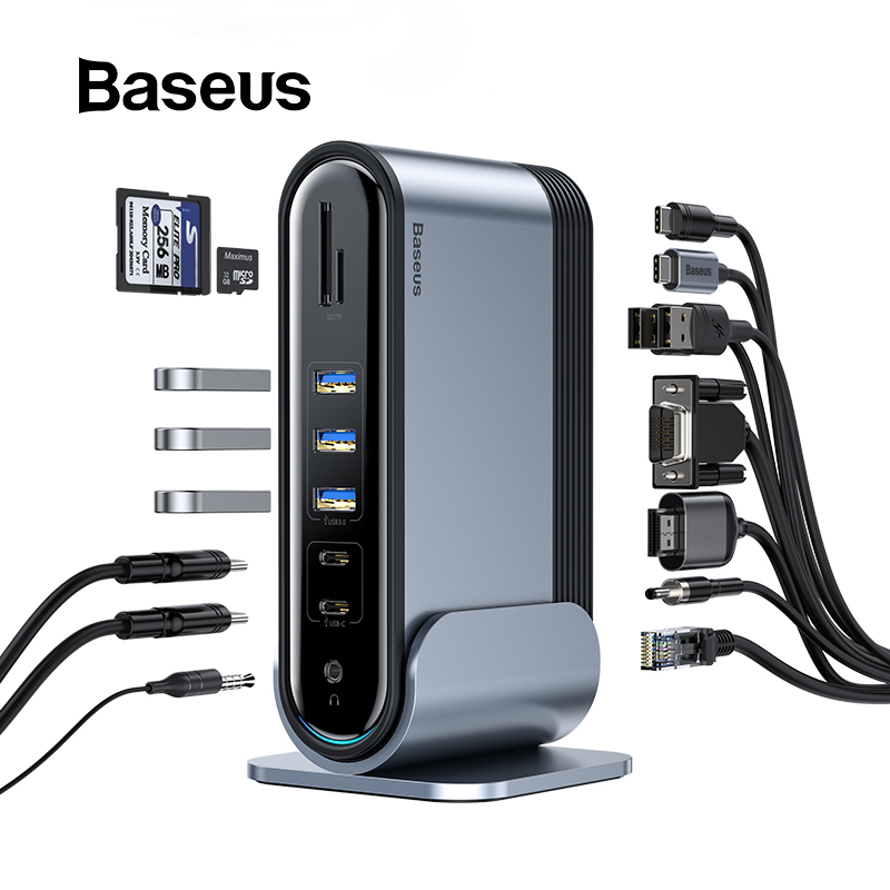 Baseus Type C USB HUB Multi-function Adaptor USB C Hub Docking Station For Macbook Pro USB Splitter Computer Accessories 17 Port