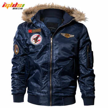 IGLDSI Men\'s Bomber Pilot Jacket Winter Parkas Army Military Motorcycle Jacket Cargo Outerwear Air Force Army Tactical coats 4XL