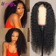 Парик для чернокожих женщин Upretty, парики из натуральных человеческих волос на сетке спереди, 4x4, 6x6, плотность 200, 250, бразильские кудрявые