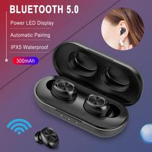 B5 TWS Bluetooth Wireless Earphone 5.0 Touch Control Earbuds Waterproof 9D Stere